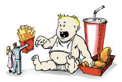 Dessin représentant un jeune enfant obèse