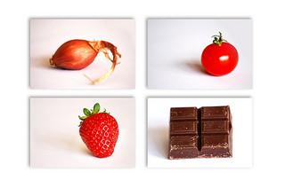Oignon, tomage, fraise et chocolat